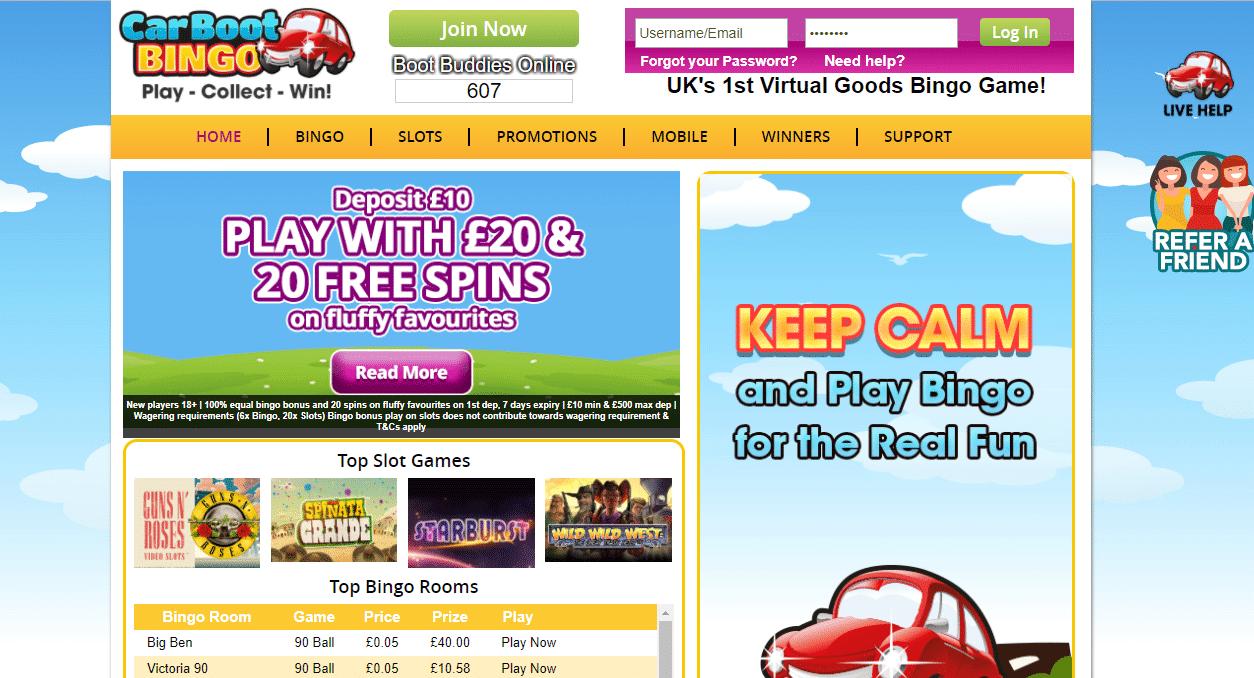 Car Boot Bingo | Claim 100% Bonus Cash + 20 FREE Spins!